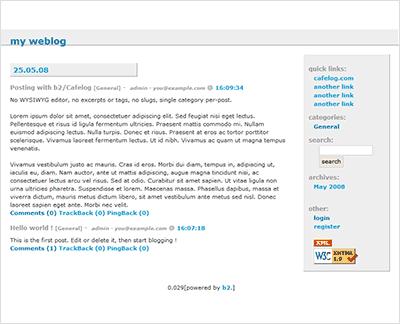 צילום מסך של בלוג חדש ב-b2/Cafelog