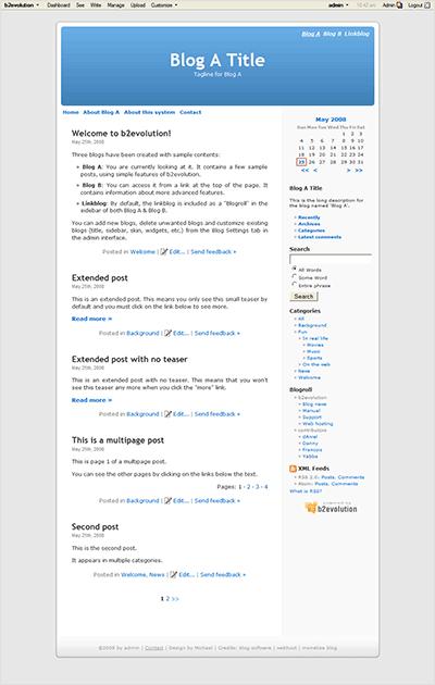 צילום מסך של בלוג ההדגמה של b2evolution