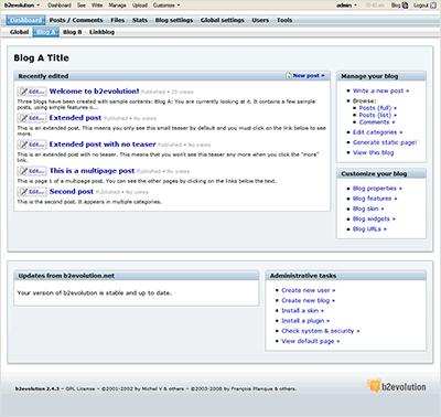 צילום מסך של לוח הבקרה של b2evolution