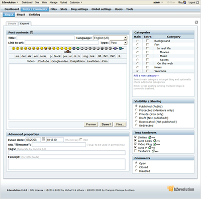 צילום מסך של כתיבת פוסט ב-b2evolution