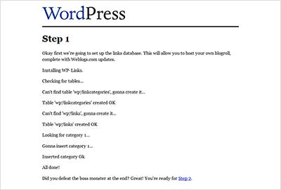 צילום מסך של התקנה של וורדפרס 0.7