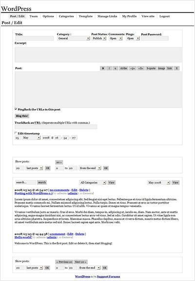 צילום מסך של כתיבת פוסט בוורדפרס 0.7